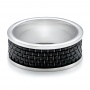 Men's Black And White Tungsten Band - Flat View -  101209 - Thumbnail