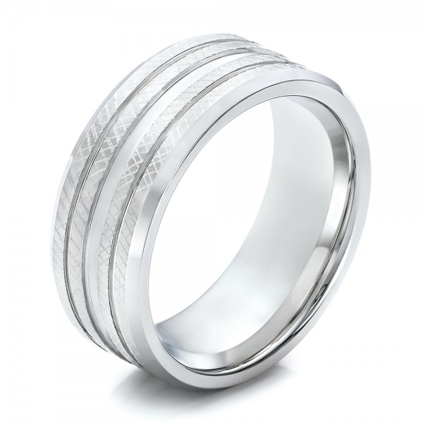 Men's Florentine Finish White Tungsten Band
