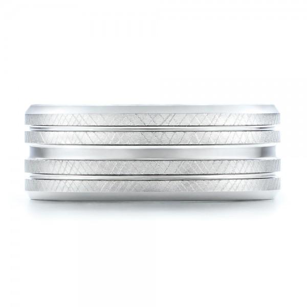Men's Florentine Finish White Tungsten Band - Top View