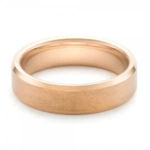 Rose Tungsten Beveled Edge Men's Wedding Band