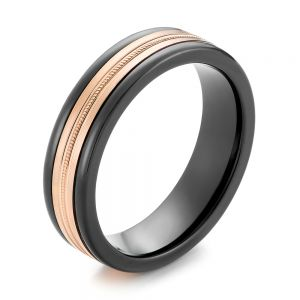 Black Tungsten and 14k Rose Gold Men's Wedding Ring