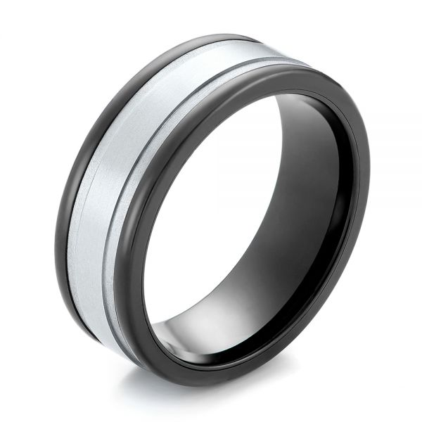 Black Tungsten and 14k White Gold Ring - Image