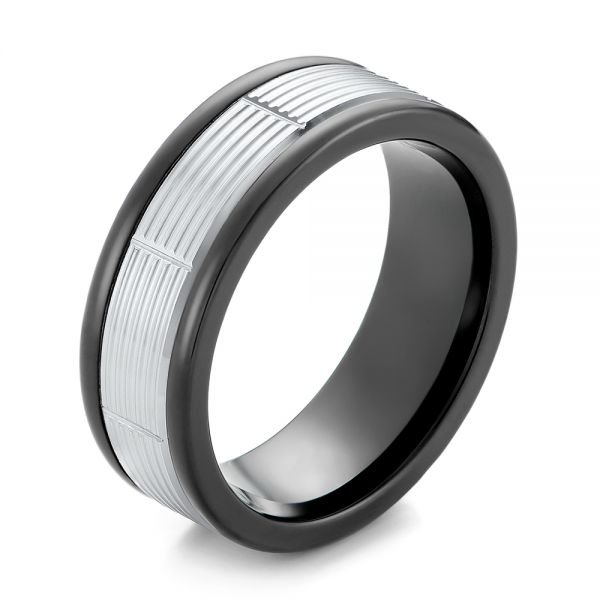 Black Tungsten and 14k White Gold