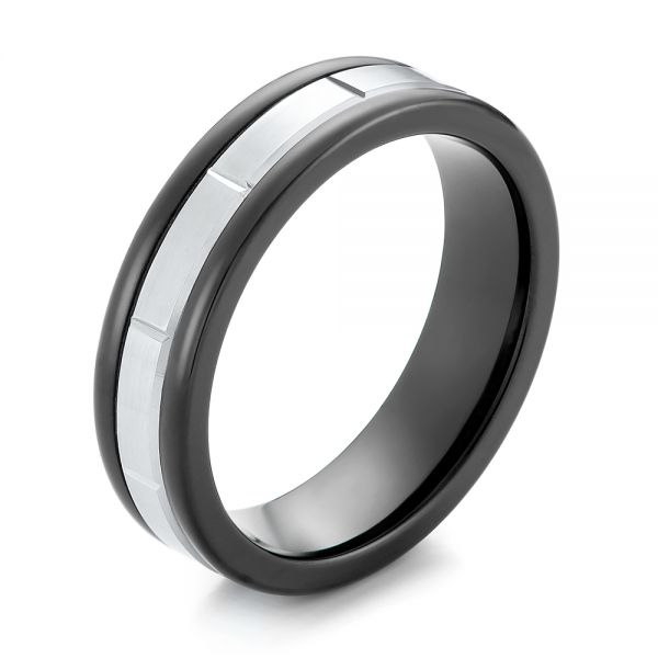 Black Tungsten and 14k White Gold Wedding Ring - Image