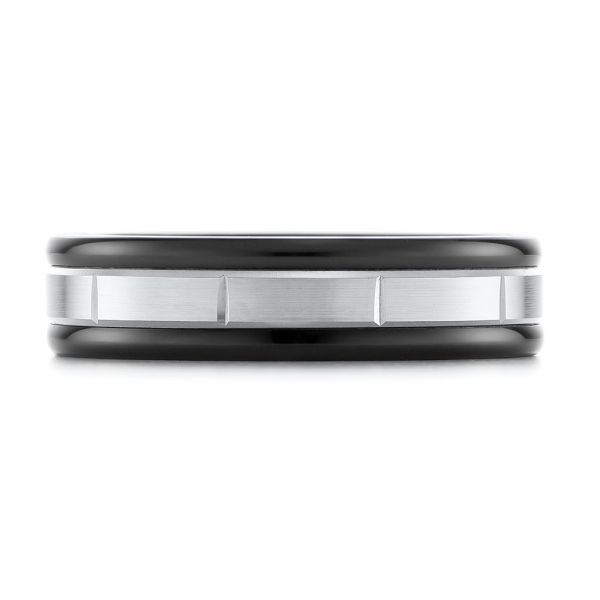 Black Tungsten and 14k White Gold Wedding Ring - Top View -  103925 - Thumbnail
