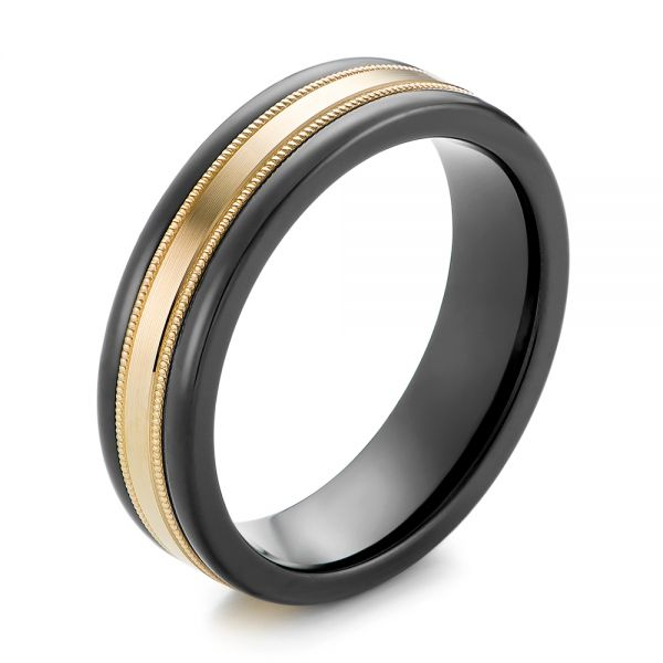 Black Tungsten and 14k Yellow Gold Wedding Ring - Image
