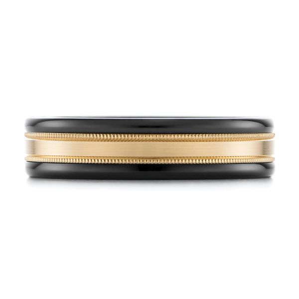 Black Tungsten and 14k Yellow Gold Wedding Ring - Top View -  103923 - Thumbnail