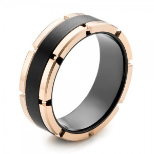 Black and Rose Tungsten Carbide Wedding Band
