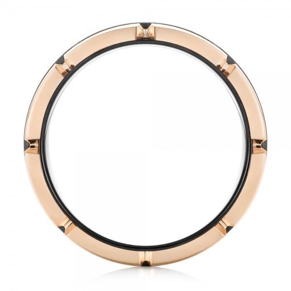 Black and Rose Tungsten Carbide Wedding Band - Finger Through View