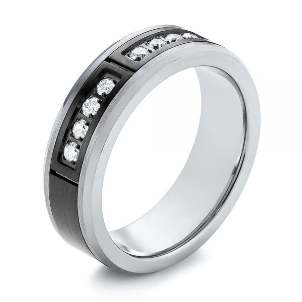 Black and White Tungsten Men's Wedding Band
