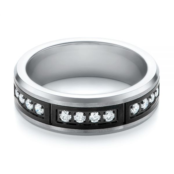 Black And White Tungsten Mens Wedding Band - Flat View -