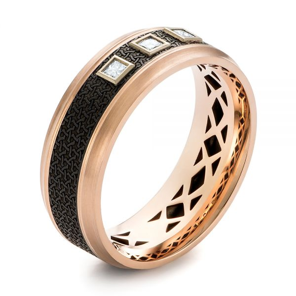 Carbon Fiber, Gold and Diamond Wedding Band - Image