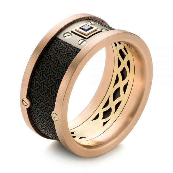 Carbon Fiber Inlay, Gold and Blue Sapphire Wedding Band - Image