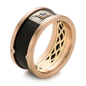 Carbon Fiber Inlay, Gold and Blue Sapphire Wedding Band