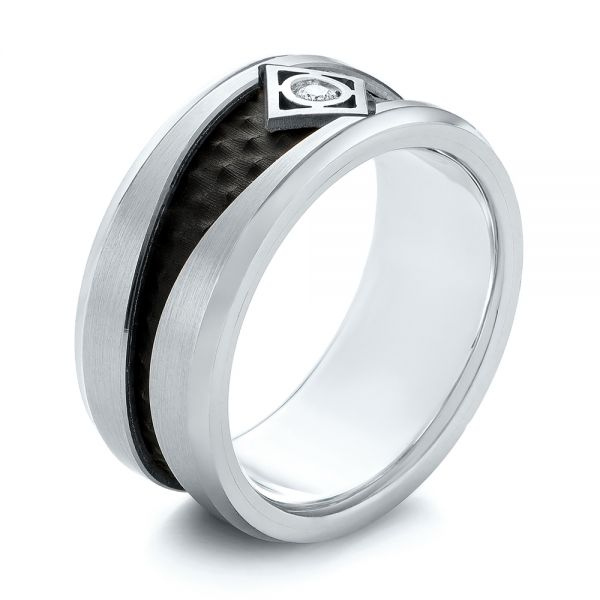Carbon Fiber Inlay Wedding Band - Image