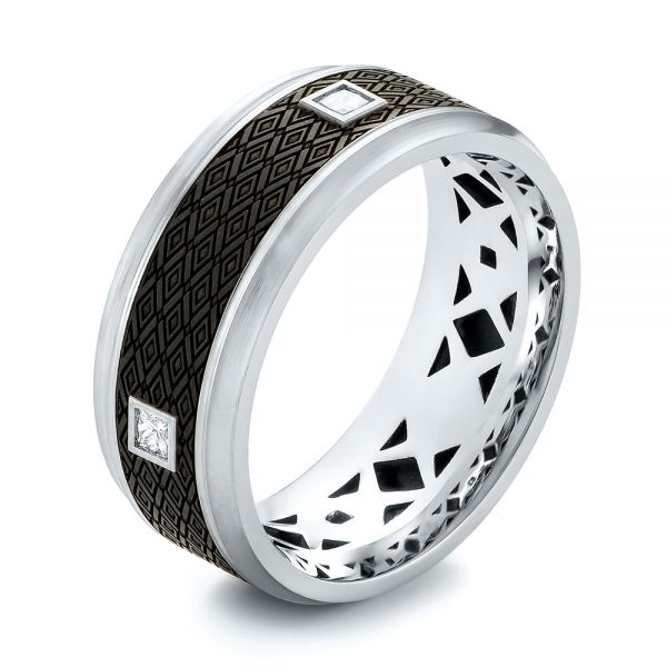 Carbon Fiber Inlay and Gold Diamond Wedding Band - Image
