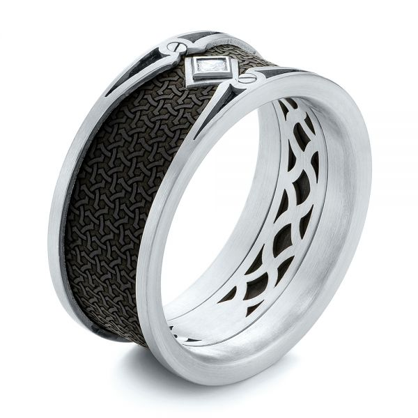 Carbon Fiber Inlay and Gold Diamond Wedding Band