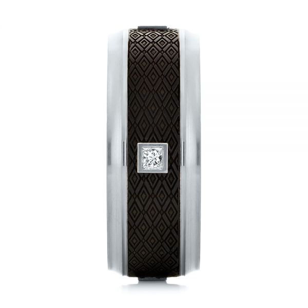 Carbon Fiber Inlay Diamond Wedding Band - Side View -