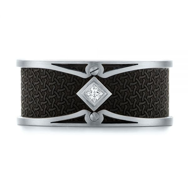 Carbon Fiber Inlay and Gold Diamond Wedding Band -  White Gold -  103858