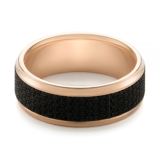 Carbon Fiber Inlay and Gold Wedding Band - Flat View -  103846 - Thumbnail