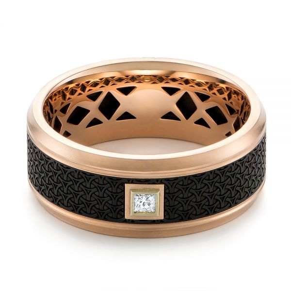 Carbon Fiber Inlay and Gold Wedding Band - Flat View -  103853 - Thumbnail