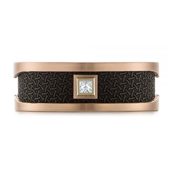 Carbon Fiber Inlay and Gold Wedding Band -  Rose Gold -  103843