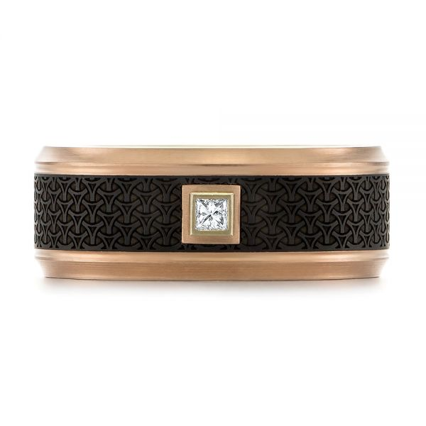 Carbon Fiber Inlay and Gold Wedding Band - Top View -  103853 - Thumbnail