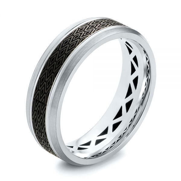 Carbon Fiber Inlay Wedding Band - Three-Quarter View -  103850
