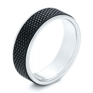 Carbon Fiber Inlay and Gold Wedding Band - Image