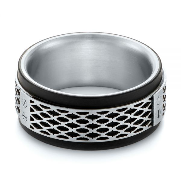 Carbon Fiber Inlay Wedding Band - Flat View -  103845
