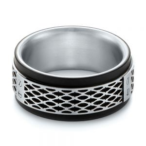 Carbon Fiber Inlay and Gold Wedding Band