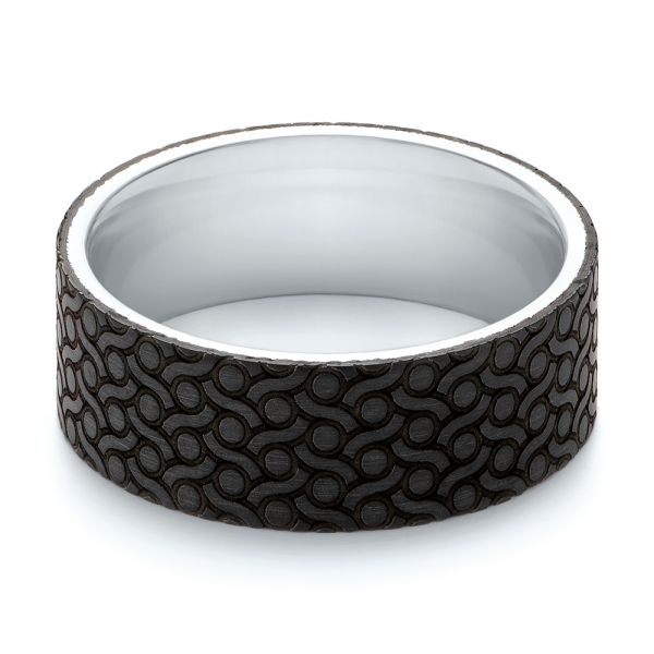 Carbon Fiber Inlay Wedding Band - Flat View -