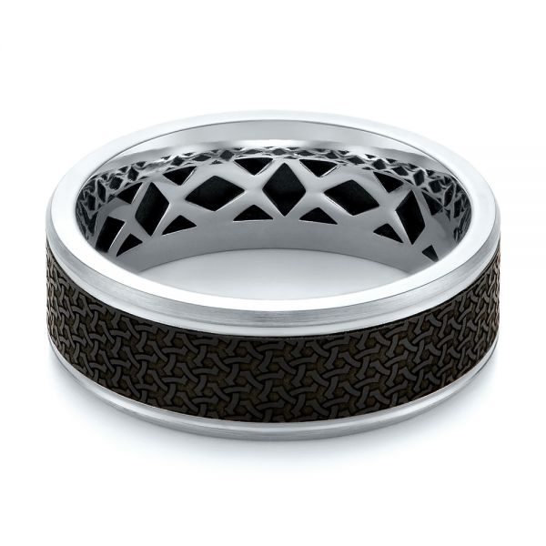 Carbon Fiber Inlay and Gold Wedding Band -  103855