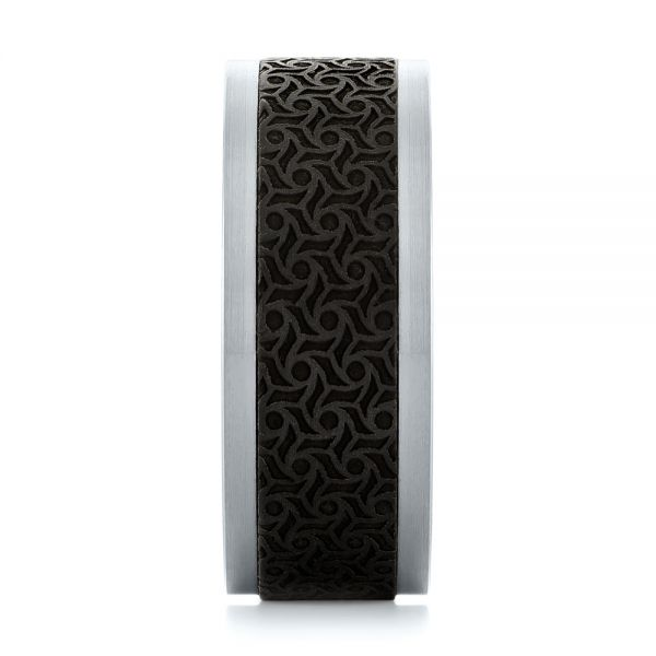 Carbon Fiber Inlay and Gold Wedding Band - Side View -  103844 - Thumbnail
