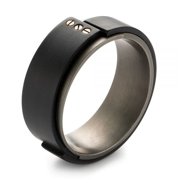 Carbon Fiber and Gold Wedding Ring - Image