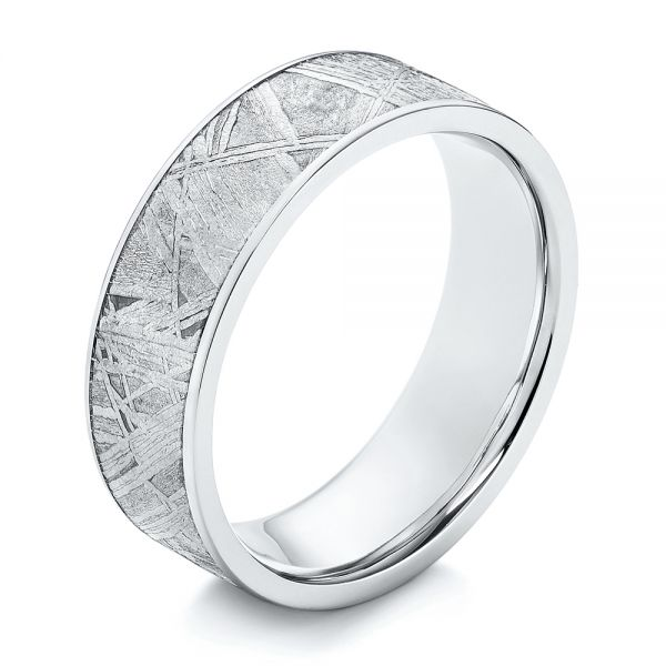 Cobalt Men's Wedding Ring with Meteorite Inlay - Image