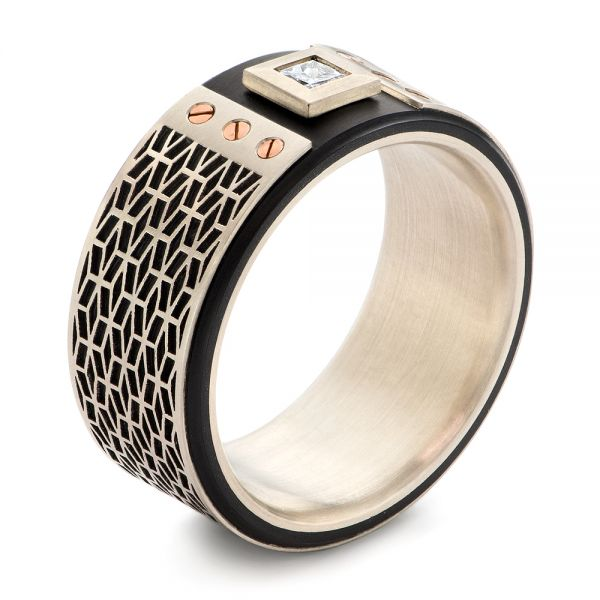 Contemporary Carbon Fiber and White Gold Diamond  Wedding Band - Image