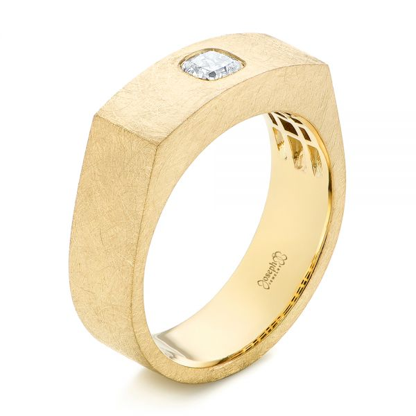18k Yellow Gold Cushion Cut Diamond Men's Band - Three-Quarter View -