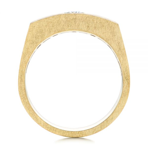 18k Yellow Gold Cushion Cut Diamond Men's Band - Front View -  105165 - Thumbnail