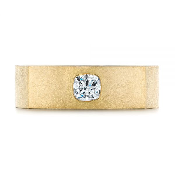 18k Yellow Gold Cushion Cut Diamond Men's Band - Top View -  105165 - Thumbnail