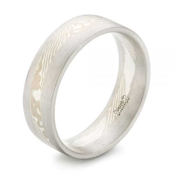 Custom 14KT Palladium White Gold and Mokume Men's Wedding Band - Image