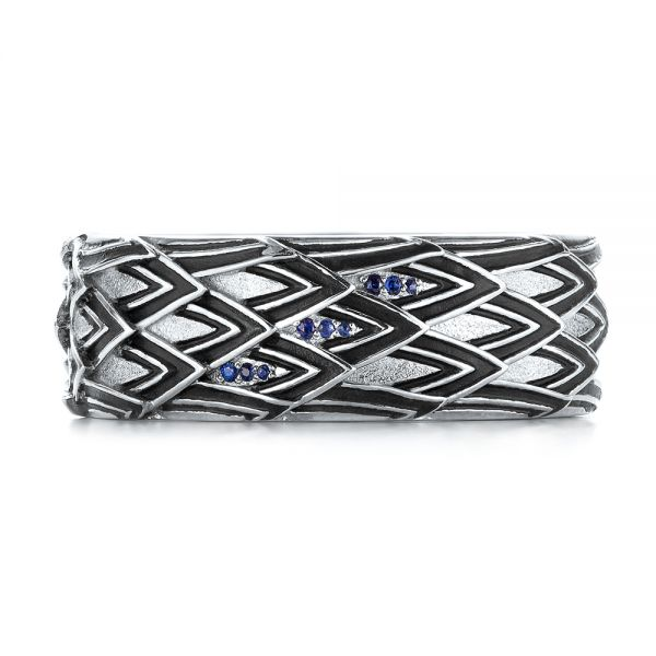 14k White Gold Custom Black Antiqued Blue Sapphire Men's Band - Top View -