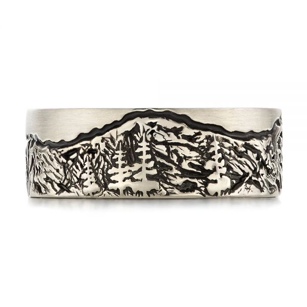 Custom Black Antiqued Engraved Men's Band - Top View -  103613 - Thumbnail