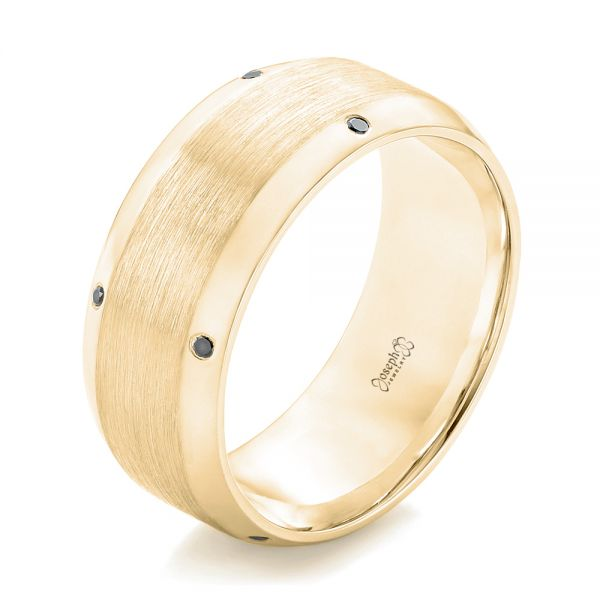 18k Yellow Gold 18k Yellow Gold Custom Black Diamond Men's Wedding Band - Three-Quarter View -