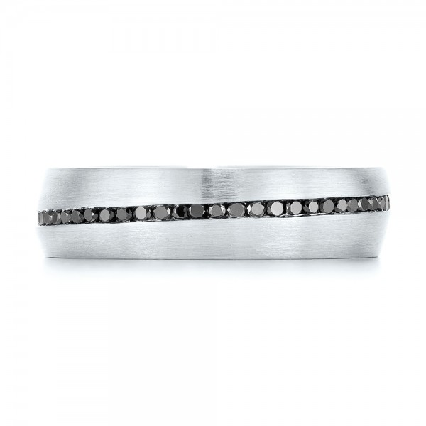 Custom Black Diamond Men's Wedding Band - Top View