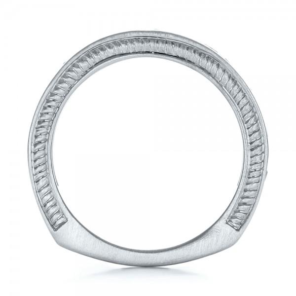 Custom Black Diamond and Brushed Palladium Men's Band - Finger Through View