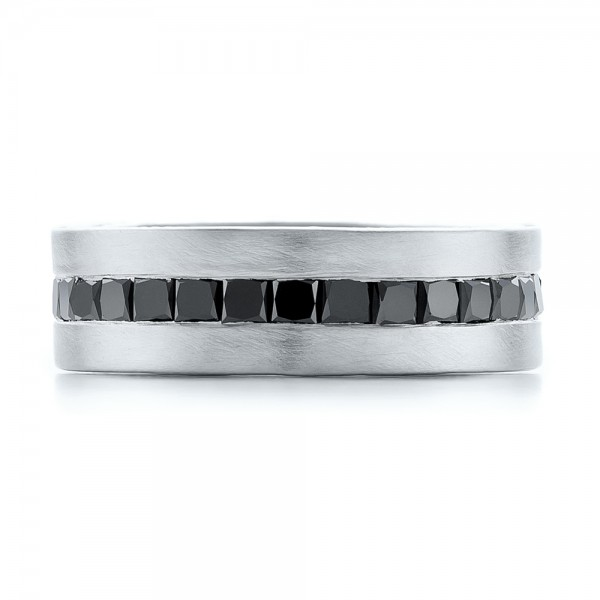 custom black diamond and brushed palladium mens band top view - Mens Black Diamond Wedding Ring