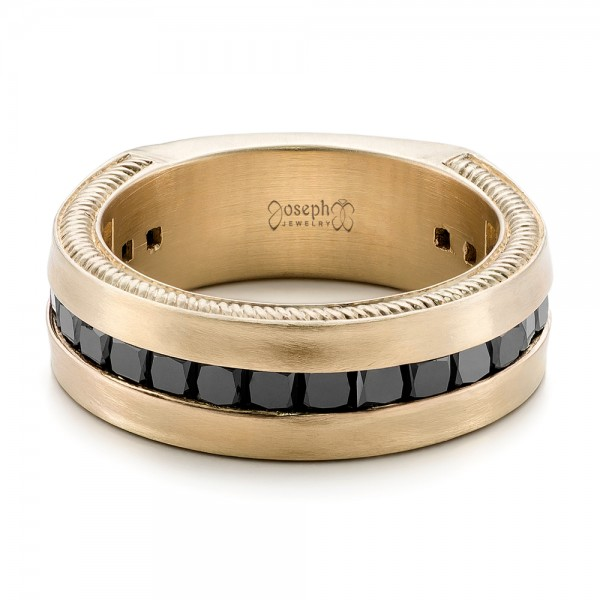 Custom Black Diamond and Brushed Yellow Gold Mens Band 102045