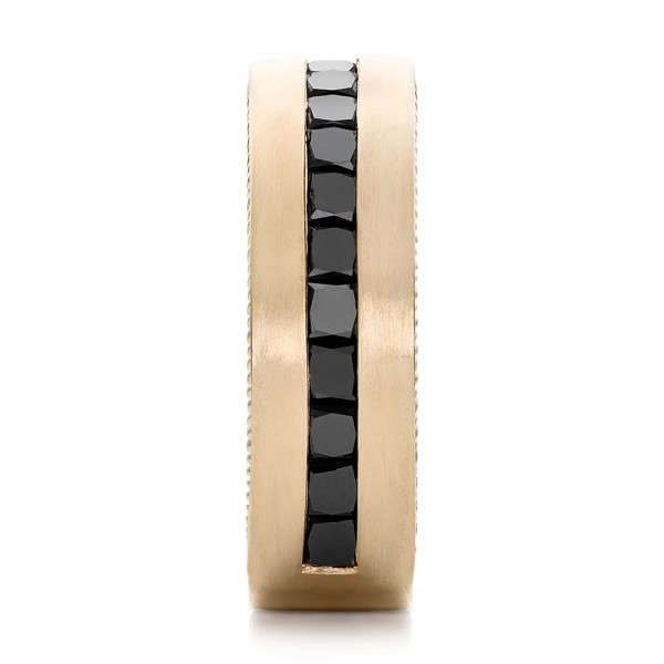 Custom Black Diamond and Brushed Yellow Gold Men's Band - Side View