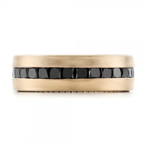 Custom Black Diamond and Brushed Yellow Gold Men's Band - Top View